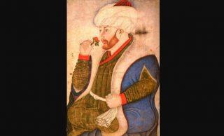 Portret Mehmet II ruikend aan een roos, eind 15e eeuw.