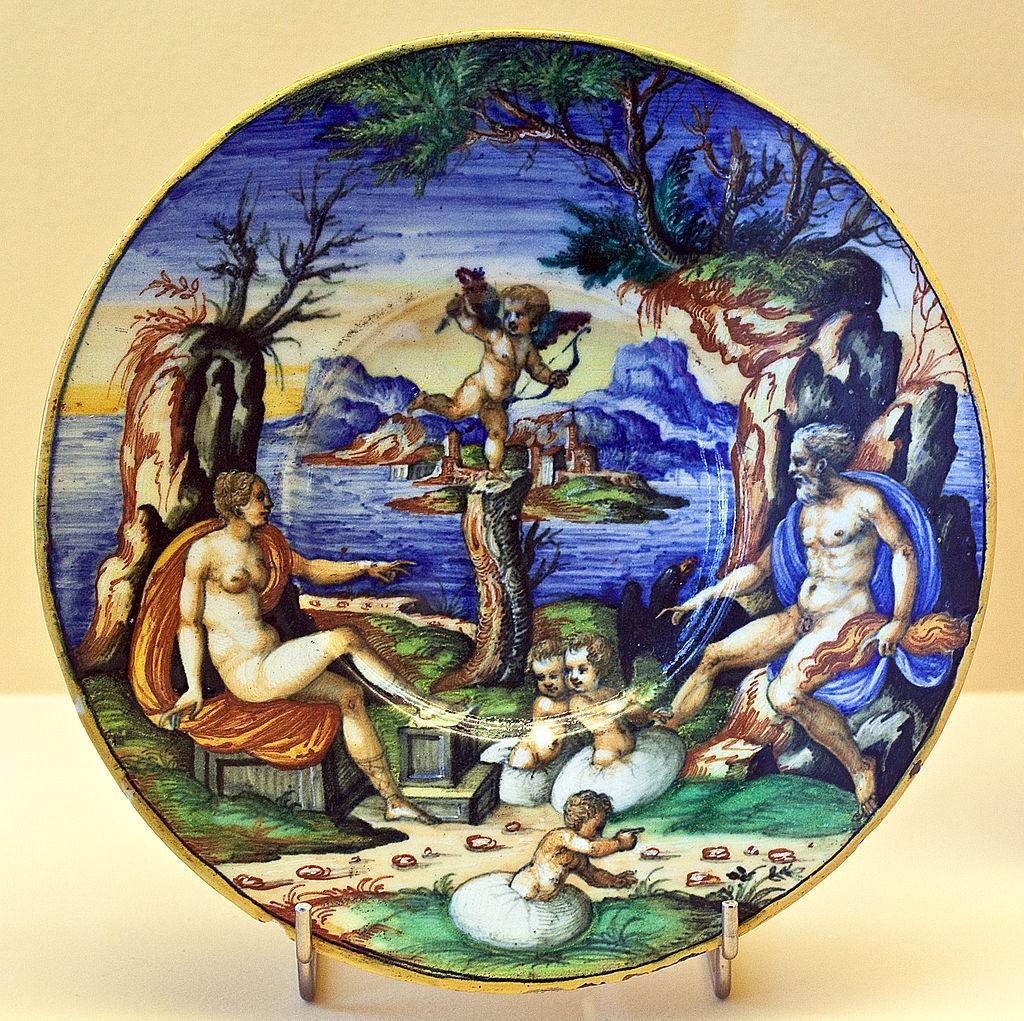 Zeus, Hera en Amor observeren de geboorte van Helena en de Dioskuren (Guido Durantino, 1550)