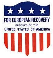 Ebleem van het Marshallplan dat op veel hulpgoederen te vinden was
