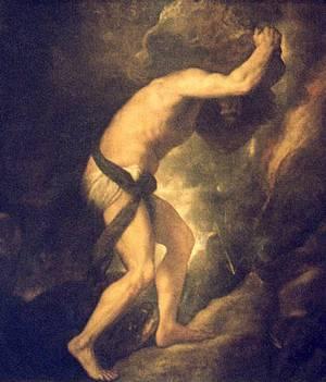 De Sisyfusarbeid uitgebeeld door de kunstschilder Titiaan