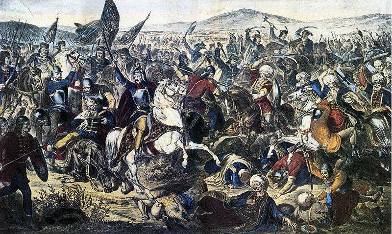 Slag op het Merelveld van 1389 – Olieverfschilderij Adam Stefanović, 1870