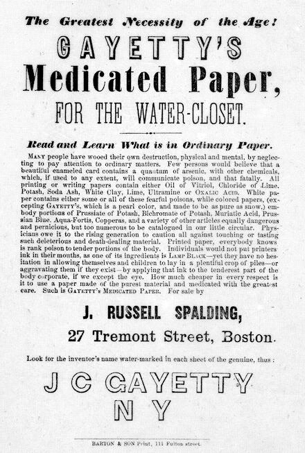 Advertentie voor het wc-papier van Joseph Gayetty