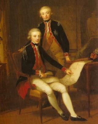 latere koning Willem I met zijn broertje Frederik omstreeks 1790