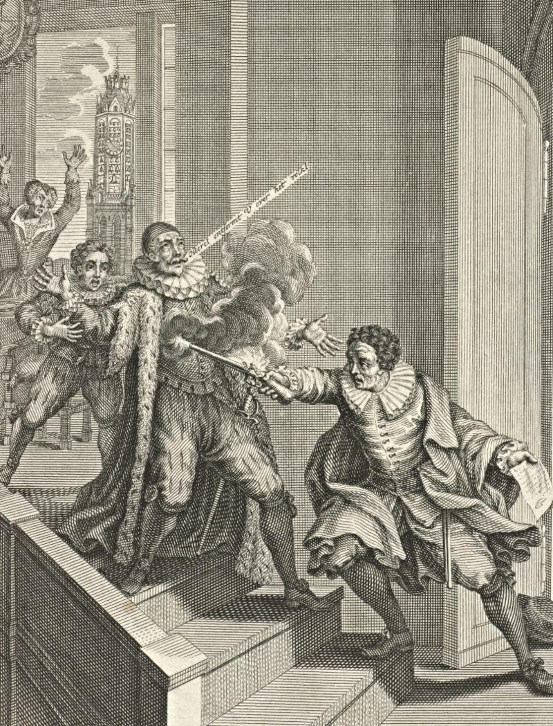 Moord op Willem van Oranje, 1584, Adolf van der Laan, naar Jan Luyken, naar Romeyn de Hooghe, 1694-1755
