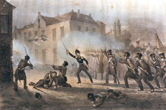De prins van oranje, de latere koning Willem II, voert het Nederlandse leger aan tijdens de Slag bij Ravels op 3 augustus 1831 (Collectie Regionaal Archief Tilburg)