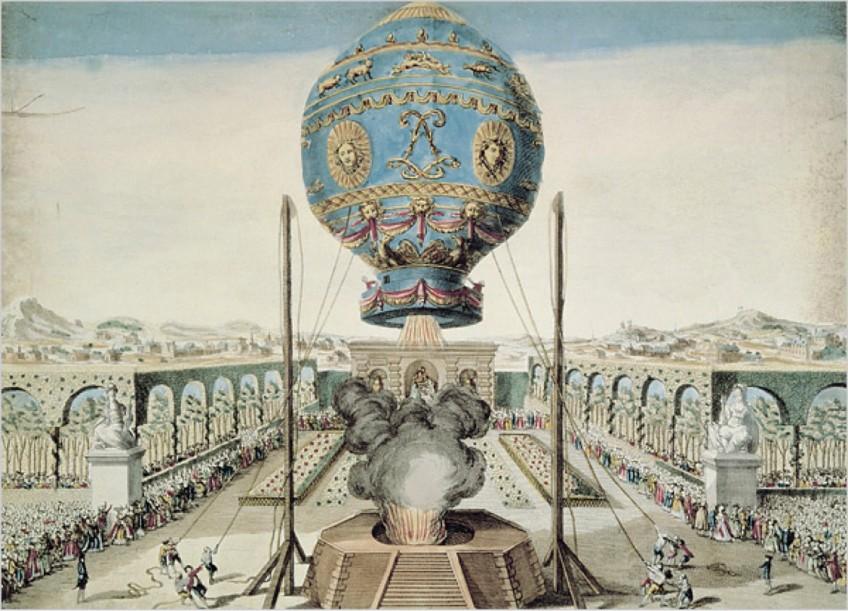 De demonstratie van de heteluchtballon bij Versailles.