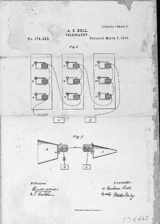 Patenttekening van Bell, 7 maart 1876 (Publiek Domein - wiki)