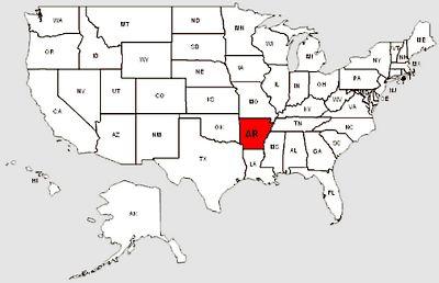 De staat Arkansas in het rood gemarkeerd