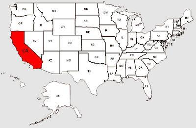 De staat Californië in het rood gemarkeerd