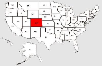 De staat Colorado in het rood gemarkeerd