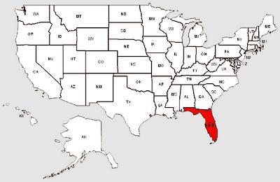 De staat Florida in het rood gemarkeerd