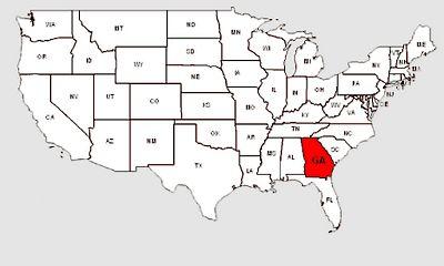 De staat Georgia in het rood gemarkeerd