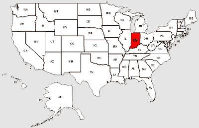 De staat Indiana in het rood gemarkeerd