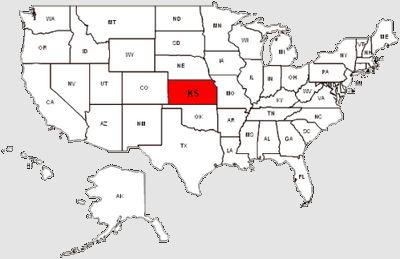 De staat Kansas in het rood gemarkeerd