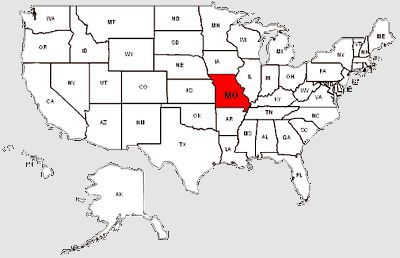 De staat Missouri in het rood gemarkeerd