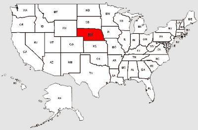 De staat Nebraska in het rood gemarkeerd