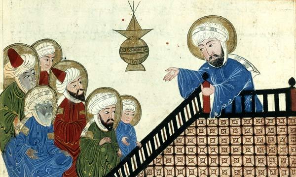 illustratie van Mohammed in een zeventiende-eeuwse kopie van een veertiende-eeuws exemplaar van een werk van Al-Biruni. illustratie van Mohammed in een zeventiende-eeuwse kopie van een veertiende-eeuws exemplaar van een werk van Al-Biruni.