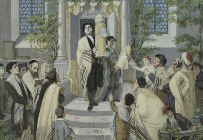 Sjavoeot - Het joodse Wekenfeest - Moritz Daniel Oppenheim, 1880