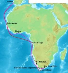 Route van Bartolomeu Dias naar Kaap de Goede Hoop (heenweg rood, terugweg paars)