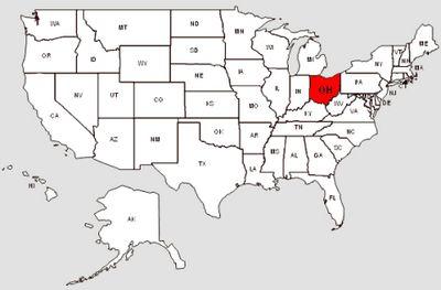 De staat Ohio in het rood gemarkeerd