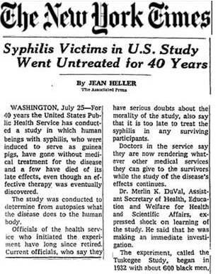 Het Tuskegee-syfilisexperiment (1932-1972)