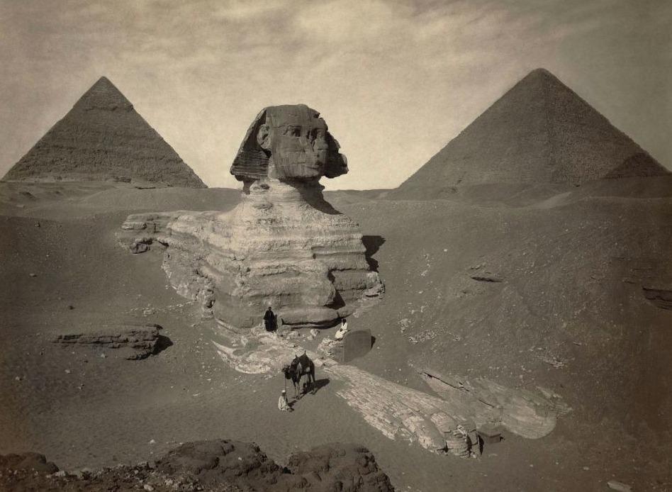 Ten dele uitgegraven Sfinx van Gizeh, ca. 1878