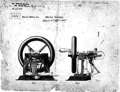 Ontwerptekening van de naaimachine van Howe