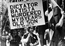 Demonstratie tegen het bewind van Batista