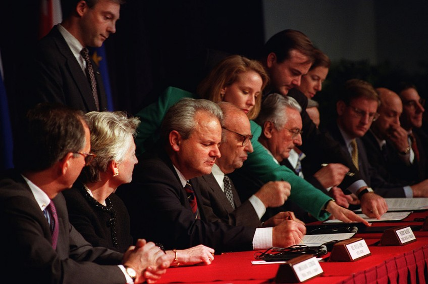 Ondertekening van het verdrag in Parijs U.S. Air Force