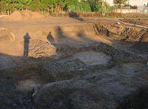 Locatie waar de fundering van de Romeinse wachttoren is gevonden (foto: Michel Ketelaars)