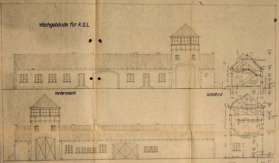Detail van een bouwtekening van Auschwitz  (Bron: Bild.de)