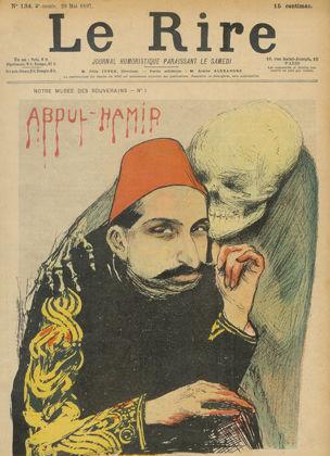 Franse spotprent waarin Abdülhamit wordt afgebeeld als 'Rode Sultan'