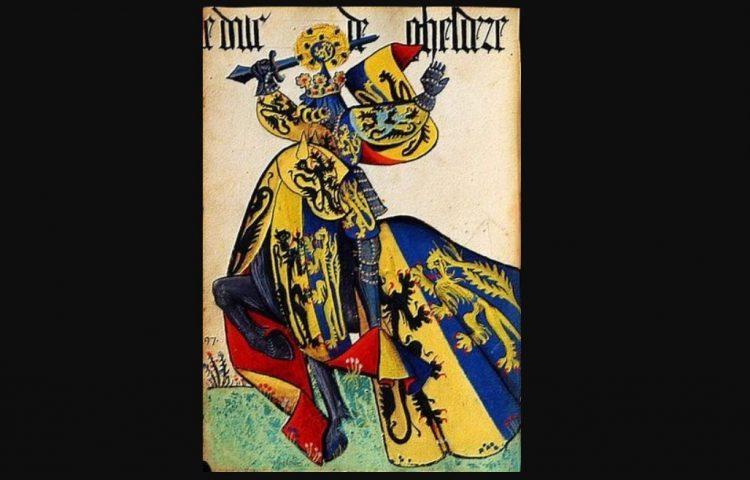 Adolf van Egmond te paard, met gespiegeld wapen en dekkleed. Bron: Wapenboek van de Orde van het Gulden Vlies (Publiek Domein - wiki)