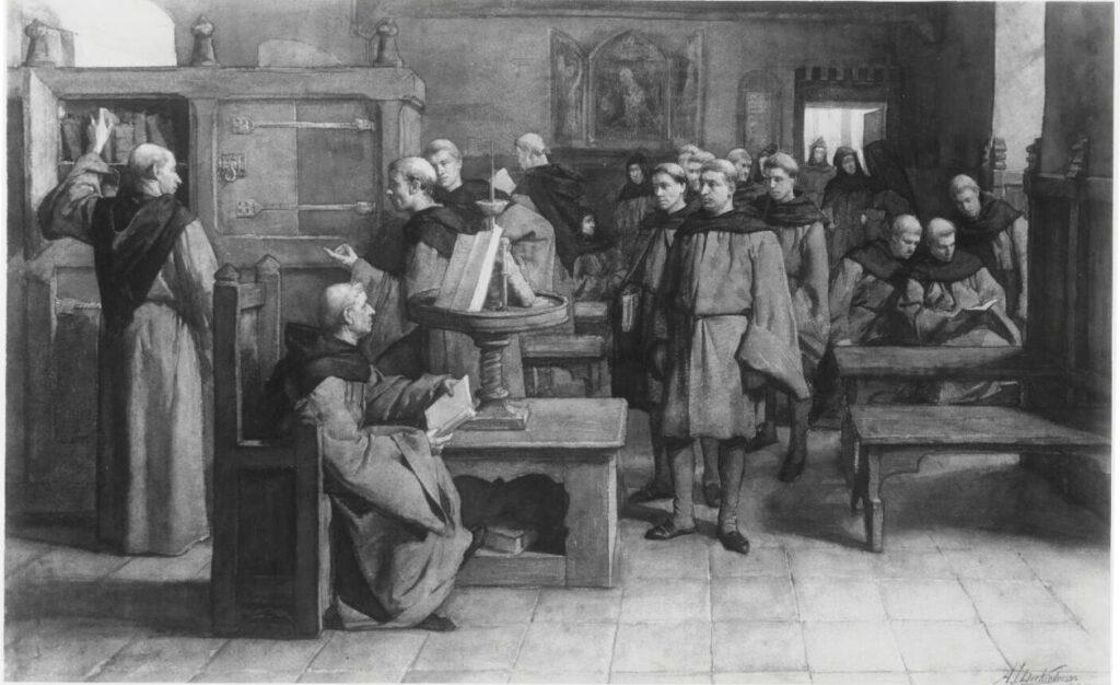 Geromantiseerde weergave van Geert Grote met zijn volgelingen (Moderne Devotie), later Broederschap des Gemenen Levens. Aquarel van Antoon Derkinderen, 1885.