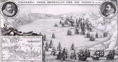 Gravure van de verovering van de Zilvervloot door Piet Hein