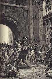 Tekening van de intocht van Alboin van de Longobarden in Pavia