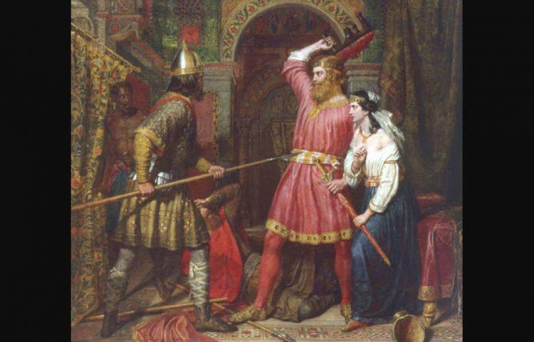 De moord op Alboin geschilderd door Charles Landseer