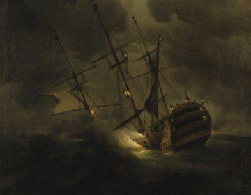 Detail van een schilderij met daarop de zinkende HMS Victory (Peter Monamy)
