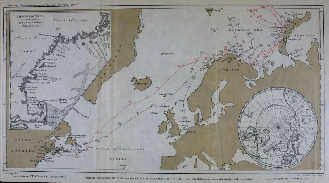 Kaart van de reis van Jan Cornelisz. May, 1611-1612