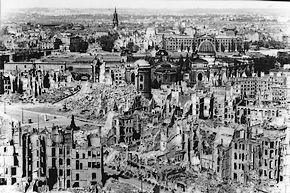 De stad Dresden na het bombardement