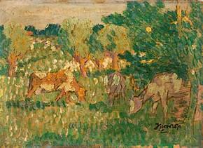 Jan Toorop, 'Landschap met koeien', ca. 1908,