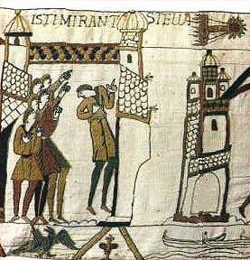 De oudst bekende afbeelding van de komeet van Halley op het Tapijt van Bayeux uit 1068.
