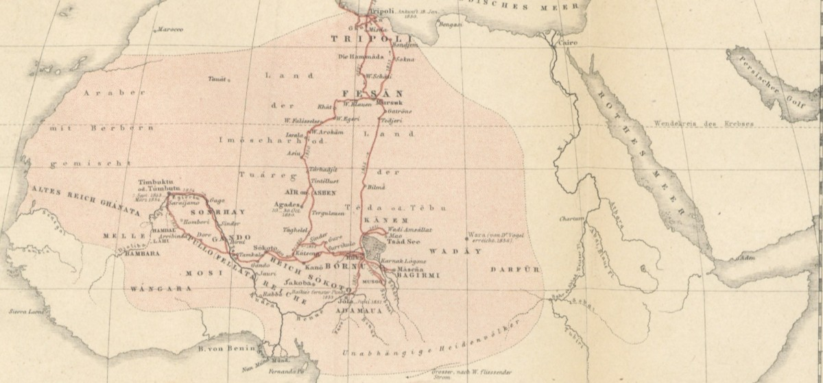 Heinrich Barth's route door Africa, 1850 tot 1855