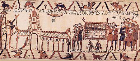 De begrafenis van Eduard de Belijder zoals afgebeeld op het beroemde tapijt van Bayeux