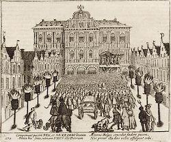 Het bestand wordt afgekondigd in Antwerpen (Frans Hogenberg, 1616)