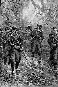 Amerikaanse soldaten op Cubaans grondgebied (Tekening uit de Illustrated London News, 1898)
