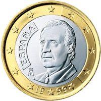 Op de Spaanse munten van 1 en 2 euro is een portret van Juan Carlos te vinden