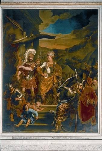 Schilderij van Ferdinand Bol in de noordelijke schouw van de Oud-Raadszaal genaamd 'Fabritius en Pyrrhus' (1656). Bron: Stichting Koninklijk Paleis Amsterdam