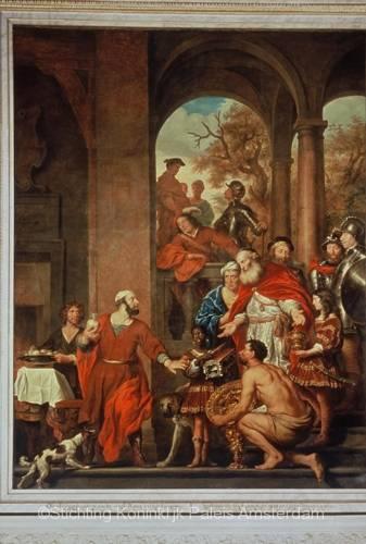 Schilderij van Govaert Flinck in de zuidelijke schouw van de Oud-Raadszaal genaamd 'De onomkoopbaarheid van consul Marcus Curius Dentatus' (1656). Bron: Stichting Koninklijk Paleis Amsterdam