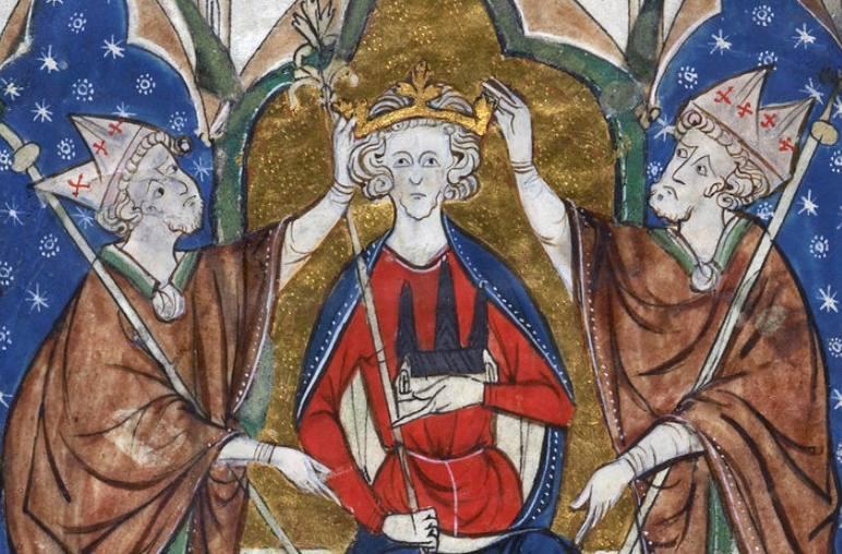 Dertiende-eeuwse afbeelding van de kroning van Hendrik III van Engeland